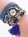 Lady's Bohemian Style Rivet Tissue Pendant Leather Band Gold Case Analog Quartz Bracelet Fashion Watch Strap Watch