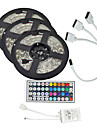 15m (3 * 5m) 5050 rgb 900 leds strip flexibel licht LED tape lichtslingers waterdicht DC 12V 600leds met 44Key ir controller kit