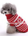 Dog Sweater Dog Clothes Winter Snowflake Fashion Christmas Dark Blue Red