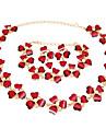 Бижутерия 1 ожерелье / 1 пара сережек / 1 браслет Имитация Рубин Для вечеринок 1 комплект Женский Красный Свадебные подарки
