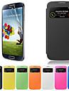 Для Кейс для  Samsung Galaxy с окошком / Флип Кейс для Чехол Кейс для Один цвет Искусственная кожа Samsung S4