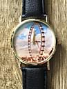New School Student Watch Men Watch  Ferris Wheel Pattern Leather Watch Unisex Watch Women Watch