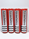 YURROAD 4Pcs 18650 Protected Rechargeable Li-ion Battery 4200mah 3.7V for Led Flashlight Torch Headlamp Red