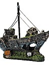Aquarium Decoration Resin Fishing Shipwreck Boat Ornament Fish Tank Accessories