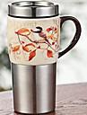 Винтаж Стаканы, 450 ml Теплоизолированные Украшение Нержавеющая сталь Керамика Сок Молоко Кофейные чашки
