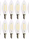 12 pack 2w e14 levou lampadas de filamento c35 2 cob 180 lm quente branco decorativo ac 220-240 v