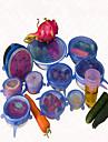 6 шт / комплект крышка универсальный силикон Саран еды горшок простирания крышка силикона кастрюли вакуума кухни крышка Герметик случайный