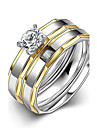 Классические кольца Кольцо Обручальное кольцо Мода Простой стиль Свадьба Титановая сталь Круглой формы Серебряный Теплый белый Бижутерия