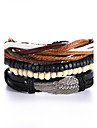4pcs/set Punk Men\'s Bracelet PU Leather Bracelet Feather Adjustable Beads Multilayer for Men Fashion Jewelry