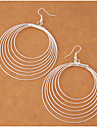 Round Drop Earrings Jewelry Circle Fashion Party Daily Alloy 1 pair Silver