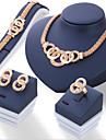 Набор украшений Euramerican Сплав Круглой формы Золотой 1 ожерелье 1 пара сережек 1 браслет 1 кольцо Для Повседневные 1 комплектСвадебные