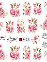 10pcs/set Fashion Romantic Style Nail Art Sticker Beautiful Pink Rose Design Nail Water Transfer Decals Nail Beauty A403