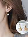 Fashion Golden Metal Earrings Simple Geometric Five-Pointed Star Earrings Cute Girl Star Drop Earrings Jewelry Daily Casual Alloy 1 pair Silver