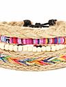 Women Valentine Geometric Multicolored Nepal Handmade Multilayer Weaving Ethnic Wind Adjustable Friendship Bracelet