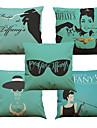Set of 5 Audrey Hepburn Pattern  Linen Pillowcase Sofa Home Decor Cushion Cover (18*18inch)