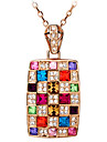 Austrian Crystal Square Necklace Luxury Colorful Rainbow Queen\'s Necklace Euramerican