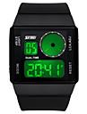 Men\'s Digital Watch Chinese Quartz Alloy Silicone Band Black White Blue Green