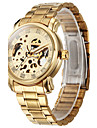 Men\'s Classic Auto-Mechanical Skeleton Gold Case Steel Band Wrist Watch Cool Watch Unique Watch Fashion Watch