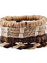 Vintage Linen Coconut Shell Multilayer Woven Bracelet