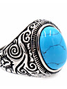 Men\'s Women\'s Ring Turquoise Basic Unique Design Costume Jewelry Stainless Steel Topaz Round Jewelry For Thank You Daily Casual
