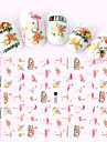 1pcs Fashion Beautiful Flower Lovely Pink Flamingo Design Nail Art 3D Stickers Creative Design DIY Beauty Decoration F083