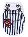 Chat Chien Tee-shirt Vetements pour Chien Decontracte / Quotidien Bande Bleu de minuit Bleu Rose Bleu clair