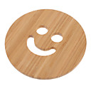 "5.7 ""Smile Face Pattern Bamboo Coaster"