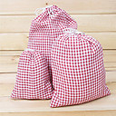 Big Size Handmade Linen Check Pattern Storage Bag 1PCS
