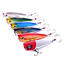 Trulinoya-Hard Mini Bait Popper 60mm/7g Water Surface Fishing Lure (Random Color)