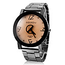 Men's Black Rim D Letter Stainless Steel Band Analog Quartz Casual Watch