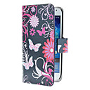 Blue Butterflies Pattern PU Leather Case with Magnetic Snap and Card Slot for Samsung Galaxy S4 mini I9190