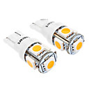 T10 1W 5-LED 70LM 3000-3500K Warm White Light for Car (DC 12V, 2-Pack)