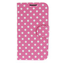Pink Wave Point PU Leather Case with Stand for Samsung Galaxy S4 I9500