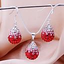 New Shamballa drop beads earring necklace pendant set Micro Pave CZ Disco Ball Bead