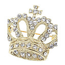 Queen Austrian Crystal Crown Pin Brooch (Yellow Gold Color)