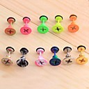 Lureme®316L Surgical Titanium Steel Stoving Varnish Screw Cap Single Stud Earrings (Random Color)