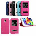 Shiny Double Windows Pattern TPU and PU Leather Case with Stand for Samsung Galaxy S5 I9600