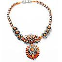 European Style Luxury Shourouk Neon Orange Color Flower Crystal Rope Statement Necklaces