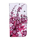 Cartoon Purple Flowers Pattern Full Body Case with Card Slot for iPhone 5/5S