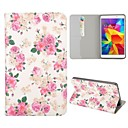 Pink Flowers Pattern Folio Stand Auto Sleep/Wake Leather Case for Samsung Galaxy Tab 4 7.0 T230
