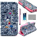 COCO FUN® Cartoon Graffiti Pattern PU Leather Full Body Case with Screen Protector,Stylus and Stand for iPhone 5/5S