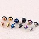 Lureme®316L Surgical Titanium Steel Hip Hop Six Diamond Single Stud Earrings (Random Color)