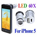 Mini 60X Microscope with 2-LED Illumination Currency Detecting UV Light for Iphone 5/5S (3*LR1130)