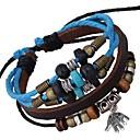 Small Palm Pendant Leather Bracelet