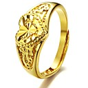 18 K Gold Plated Heart-shaped Ms Hollow Ring Opening All Yards