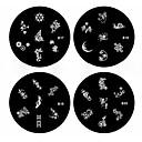 1PCS Nail Art Stamp Stamping Image Template Plate B Series NO.17-20(Assorted Pattern)