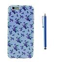 Голубой цветок шаблон ТПУ Мягкая обложка емкости и ручка для iPhone 6