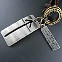 Корея Стиль серебряный крест Plate Leather Pandant Ожерелье (1шт)