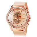 Круглый Diamante Дело Pattern Cute Cat Женская Наберите сплава группы кварцевые наручные часы
