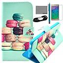 COCO весело красочные Macarons Pattern PU кожаный чехол с кино и USB-кабель и стилус для Samsung Galaxy Альфа G850F
